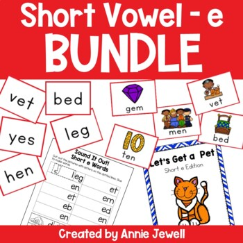 Short e BUNDLE Working on Sounds and Words Activities, Flashcards, & Printables