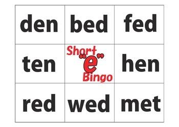 "Bingo: Short ""e"" Words"