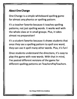 "Short e (CVC)- ""One Change"" Whiteboard Game"
