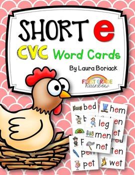 Short e CVC Word Cards