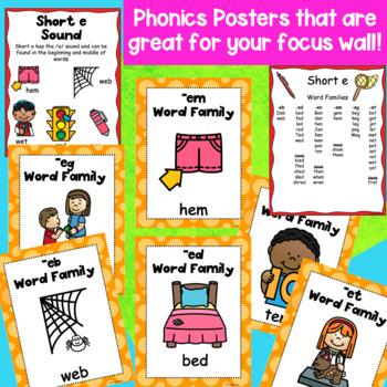 Short e CVC Word Families Hands-on Phonics Activities