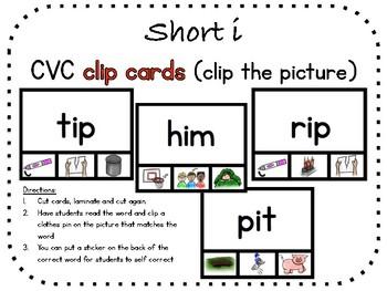 Short e, CVC clip carts (clip the picture)