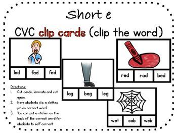 Short e, CVC clip carts (clip the word)