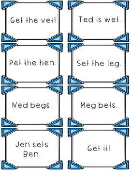 Short e - Differentiated Sentence Fluency Cards