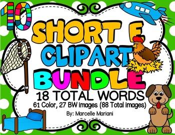 SHORT VOWEL E Clipart Bundle-CVC Clipart (18 words- 88 images)