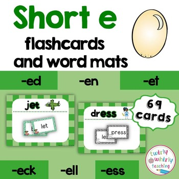 Short e Flashcards and Center Activities