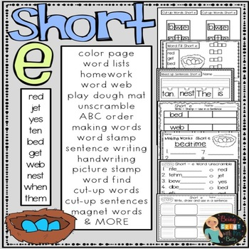 Short e Hands-on Spelling and Phonics