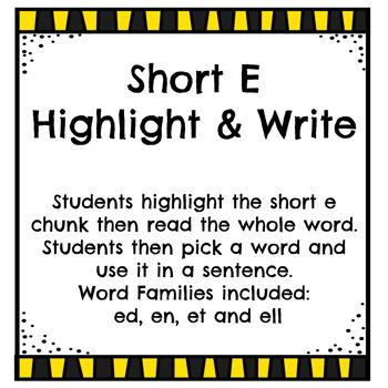 Short e - Highlight and Write
