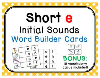 Short /e/ Initial Sound Word Builder Cards with 16 BONUS Vocabulary Cards