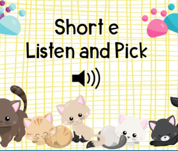 Short e Listen and Pick Boom Cards Self-Checking Digital Task Cards