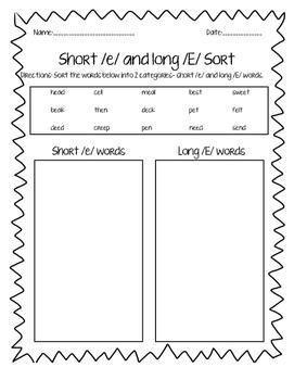 Short /e/ Long /E/ word sort