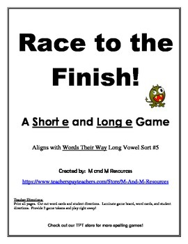 Short e Long e  Race to the Finish Game