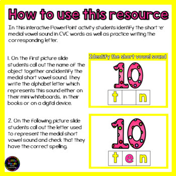 Short e Vowel - CVC Words Interactive Powerpoint