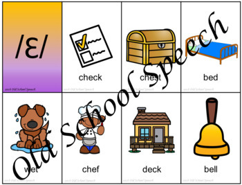 Short e Picture Articulation Cards