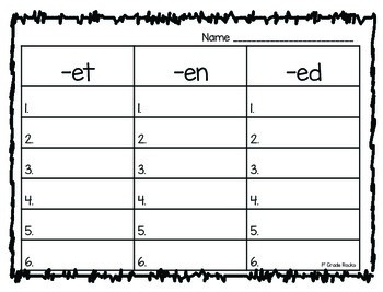 Short e Read and Write the Room