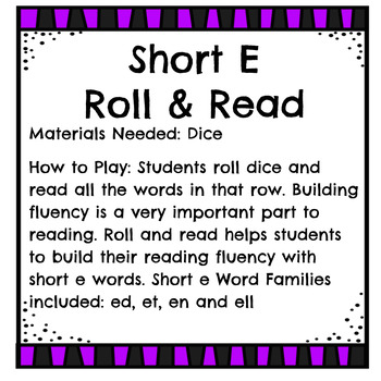 Short e - Roll and Read