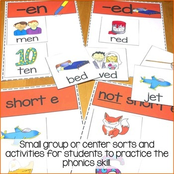 Short e Vowel Activities-Sorts and Worksheets