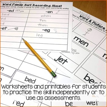 Short e Word Work Activities-Sorts and Worksheets