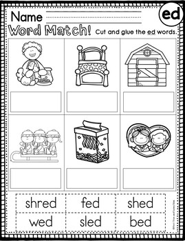 Short e Word Families Worksheets - ed, en, et