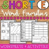 Short E Word Families Worksheets Bundle: ed Family, en Family, et Family