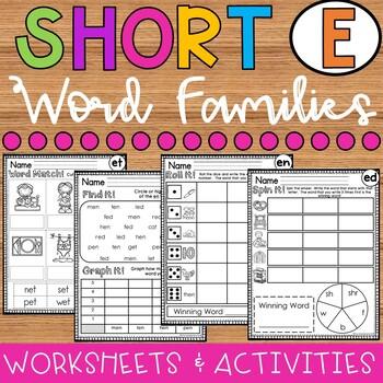 Short E Word Families Worksheets Bundle Ed Family En Family Et Family