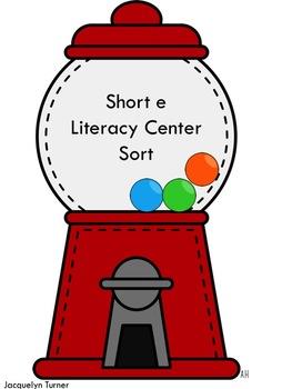 Short e Word Families Literacy Center Sort