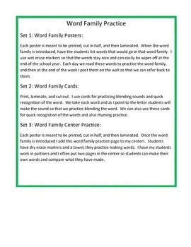 Short e Word Family