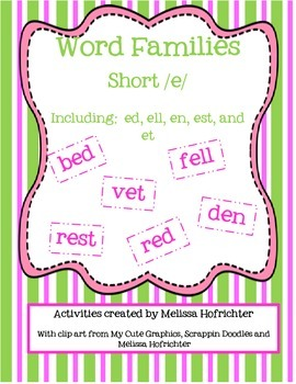 Short e Word Family Activities