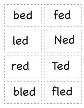 Short e Word Family Card Game