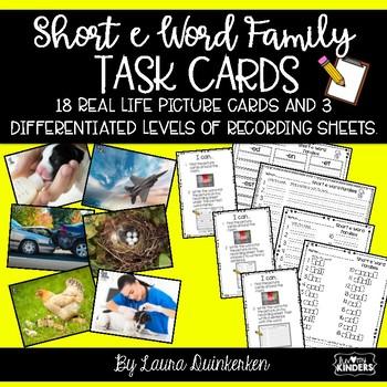 Short e Word Family Task Cards Write The Room