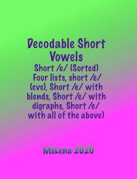 Short /e/ Word List (SORTED)