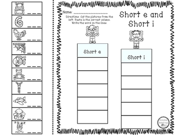 Short e and Short i Sort, Cut, and Paste