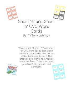 Short 'e' and 'o' CVC word cards