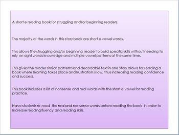 Reader book on the short e vowel for beginning or struggling readers