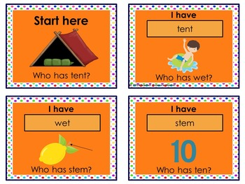 Short e card GAME I have who has  35 cards with pictures PHONICS