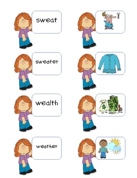 Short e (ea) Picture and Word Matching Game- A Needle and Thread