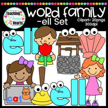 """Short e """"ell"""" Word Family Clipart"""