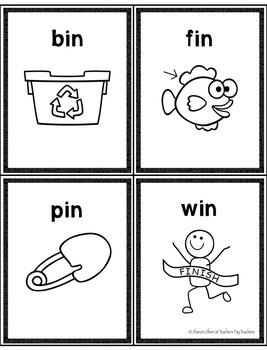 Short e & i  CVC Word Families Write-the-Room in B & W