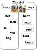 Short e vs. long e word sort: Free literacy center activity