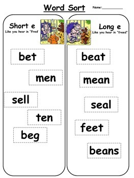 Short e vs. long e word sort: Free literacy center activity