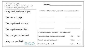 Short /e/ reading passage and activity sheet Meg and Jan
