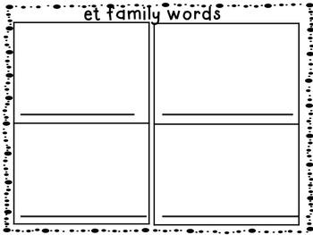 Short e word family work bundle