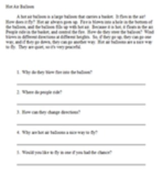 Short easy reading passages with 5 questions - Set 3 - 10 passages
