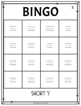 Short 'i' CVC Bingo -- 4x4 Grid
