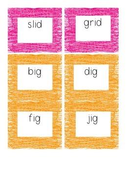 Short 'i' CVC Word Cards