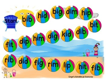 Short i CVC Words at the Beach Board Game