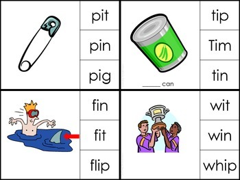 Short 'i' Clip Cards (Words with _in, _it, _iss)