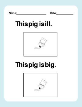 Short i - Cut and Paste Worksheet - Blending and Sight Word Sentences