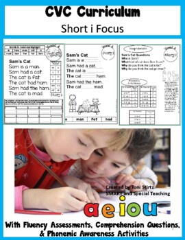CVC  Words Decodable Stories Short Vowel I  with Cloze Passages