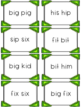 Short i - Differentiated Sentence Fluency Cards